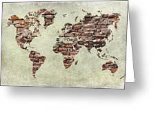 Map Of The World Like A Brick Wall Greeting Card by Christo Christov