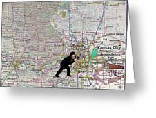 Map Overland Park Kansas Greeting Card by Liane Wright