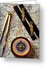 Map With Compass Tools Greeting Card by Garry Gay