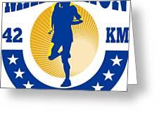 Marathon Runner Athlete Running Greeting Card by Aloysius Patrimonio