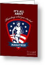 Marathon Runner Finish What You Start Poster Greeting Card by Aloysius Patrimonio