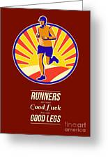 Marathon Runner Retro Poster Greeting Card by Aloysius Patrimonio