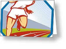 Marathon Runner Running Race Track Retro Greeting Card by Aloysius Patrimonio