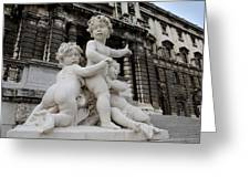 Marble Cherub And Angels Statue Vienna Austria Greeting Card by Imran Ahmed