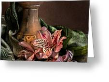 Marble vase with lilies Greeting Card by Hugo Bussen