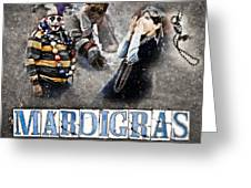 Mardi Gras Artwork Greeting Card by Ray Devlin
