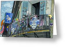 Mardi Gras Balcony 210 Greeting Card by John Boles