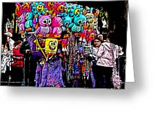 Mardi Gras Vendor's Cart Greeting Card by Marian Bell
