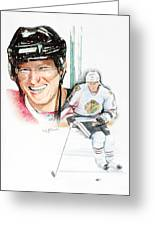 Marian Hossa-- Big Hoss Greeting Card by Jerry Tibstra