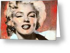 Marilyn In Retro Color Greeting Card by Wayne Pascall
