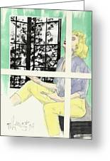 Marilyn's Two Windows Greeting Card by P J Lewis