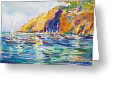 Marina At Catalina Greeting Card by Therese Fowler-Bailey