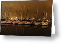 Marina At Night Greeting Card by Jenny Hudson