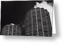 Marina City Morning B W Greeting Card by Steve Gadomski
