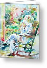 Mark Twain Sitting And Smoking A Cigar - Watercolor Portrait Greeting Card by Fabrizio Cassetta