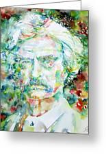 Mark Twain - Watercolor Portrait Greeting Card by Fabrizio Cassetta