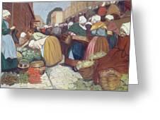 Market In Brest Greeting Card by Fernand Piet