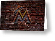 Marlins Baseball Graffiti On Brick  Greeting Card by Movie Poster Prints
