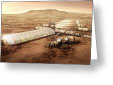 Mars Settlement With Farm Greeting Card by Bryan Versteeg