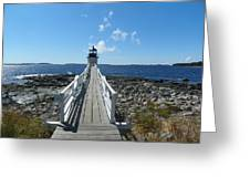 Marshall Point Lighthouse From Shoreline Greeting Card by Joseph Rennie