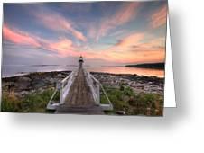 Marshall Point Sunset Greeting Card by Lori Deiter