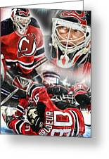 Martin Brodeur Collage Greeting Card by Mike Oulton