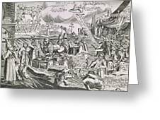 Martin Luther 1483 1546 Writing On The Church Door At Wittenberg In 1517  Greeting Card by Swiss School