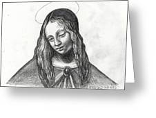 Mary After Davinci Greeting Card by Genevieve Esson