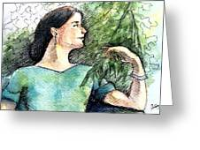 Mary In The Garden Greeting Card by Mary Fanning
