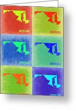 Maryland Pop Art Map 2 Greeting Card by Naxart Studio