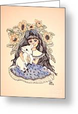 Mary's Lamb Greeting Card by Lenora Brown