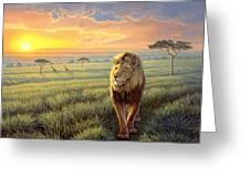 Masai Mara Sunset Greeting Card by Paul Krapf