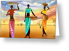 Masai Women Quest For Grains Greeting Card by Bedros Awak