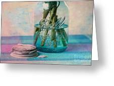 Mason Jar Vase Greeting Card by Kay Pickens