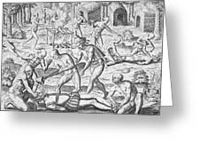 Massacre of Christian missionaries Greeting Card by Theodore De Bry
