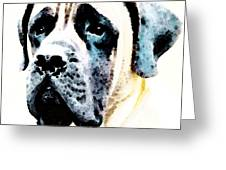 Mastif Dog Art - Misunderstood Greeting Card by Sharon Cummings