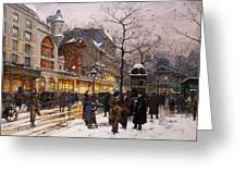 Matinee au Moulin Rouge Paris Greeting Card by Eugene Galien-Laloue