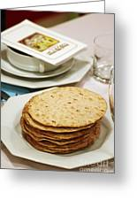 Matza And Haggada For Pesach Greeting Card by Ilan Rosen
