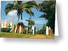 Maui Surfboard Fence - Peahi Greeting Card by Sharon Mau