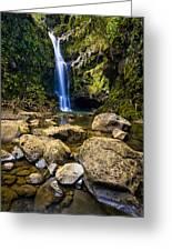 Maui Waterfall Greeting Card by Adam Romanowicz
