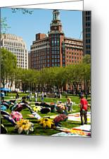 May Day On The New Haven Green Greeting Card by Robert Ford
