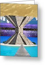 Mayan Temple Ships On 2 Worlds At Once Greeting Card by Bruce Iorio