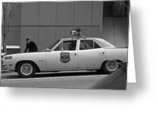 Mayberry Meets Seattle - vintage police cruiser Greeting Card by Jane Eleanor Nicholas