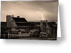 Mcintosh Farm Lightning Sepia Thunderstorm Greeting Card by James BO  Insogna