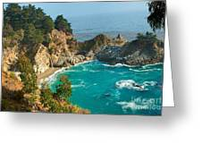 Mcway Falls Along The Big Sur Coast. Greeting Card by Jamie Pham