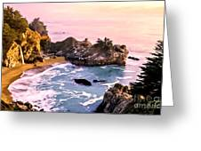 Mcway Falls Pacific Coast Greeting Card by Bob and Nadine Johnston