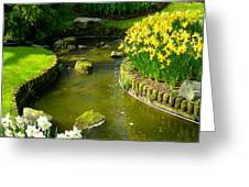 Meandering Stream in Spring Flower Garden Keukenhof near Lisse Netherlands Greeting Card by Robert Ford