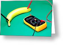 Measuring Resistance Of A Banana Food Physics Greeting Card by Paul Ge