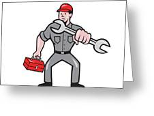 Mechanic Punching With Spanner Cartoon Greeting Card by Aloysius Patrimonio