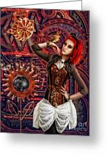 Mechanical Garden Greeting Card by Mo T